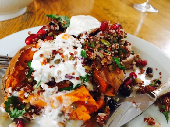 Baked sweet potato with grain salad